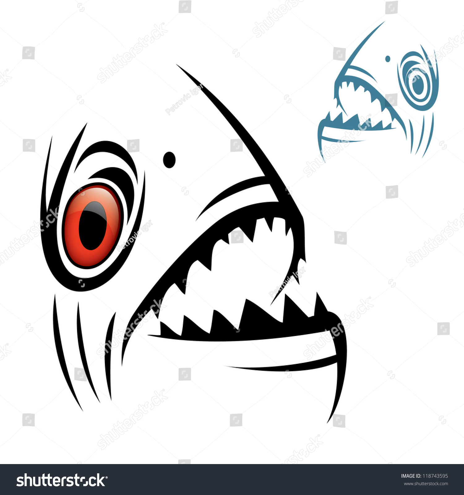 Piranha Head Vector Illustration Vector de stock118743595: Shutterstock