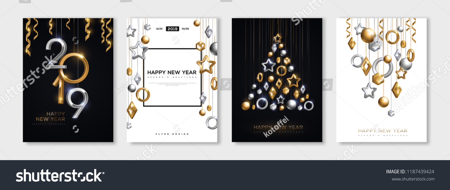 Christmas and New Year posters set with hanging gold and silver 3d baubles and 2019 numbers. Vector illustration. Winter holiday invitations with geometric decorations #1187439424