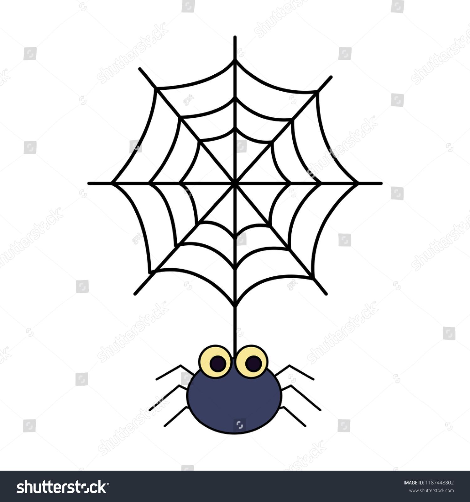 halloween spider spiderweb isolated icon stock vector (royalty free