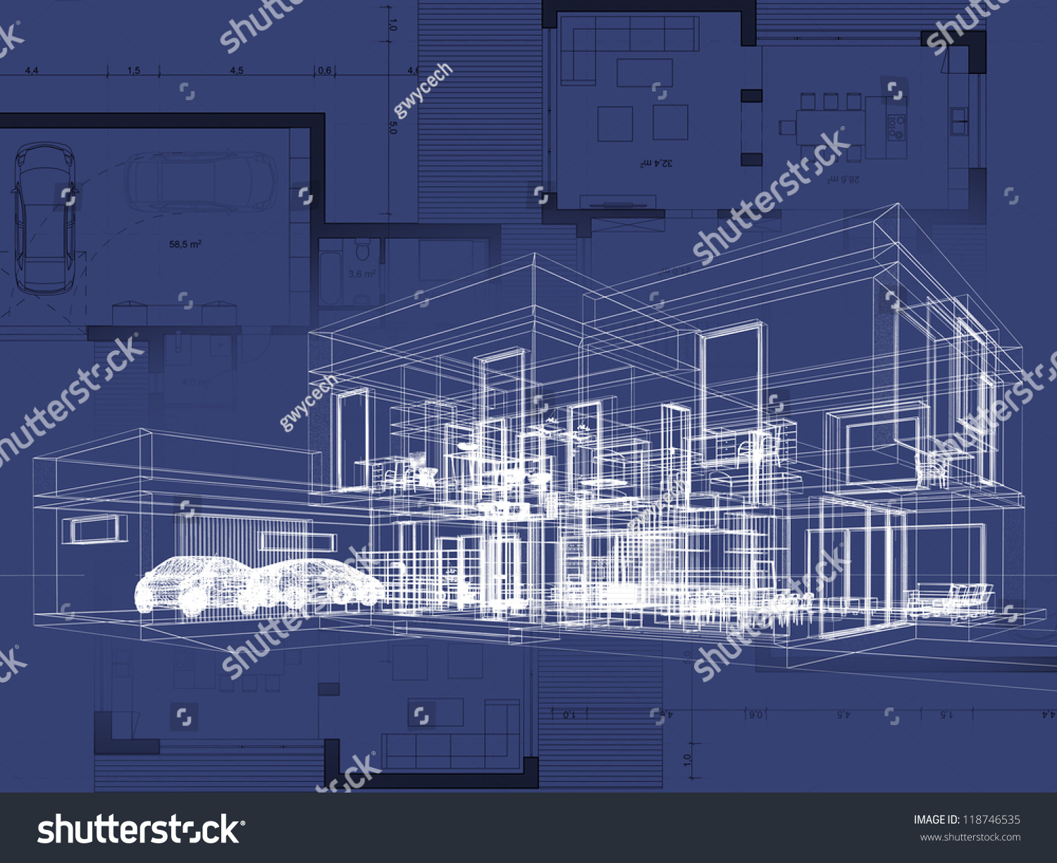 Blueprint Architecture Plan And Perspective Drawing Of