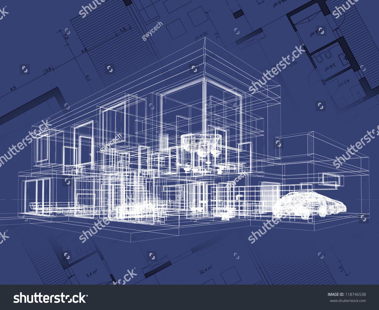 Blueprint architecture plan perspective drawing contemporary stock blueprint architecture plan and perspective drawing of contemporary house malvernweather Choice Image