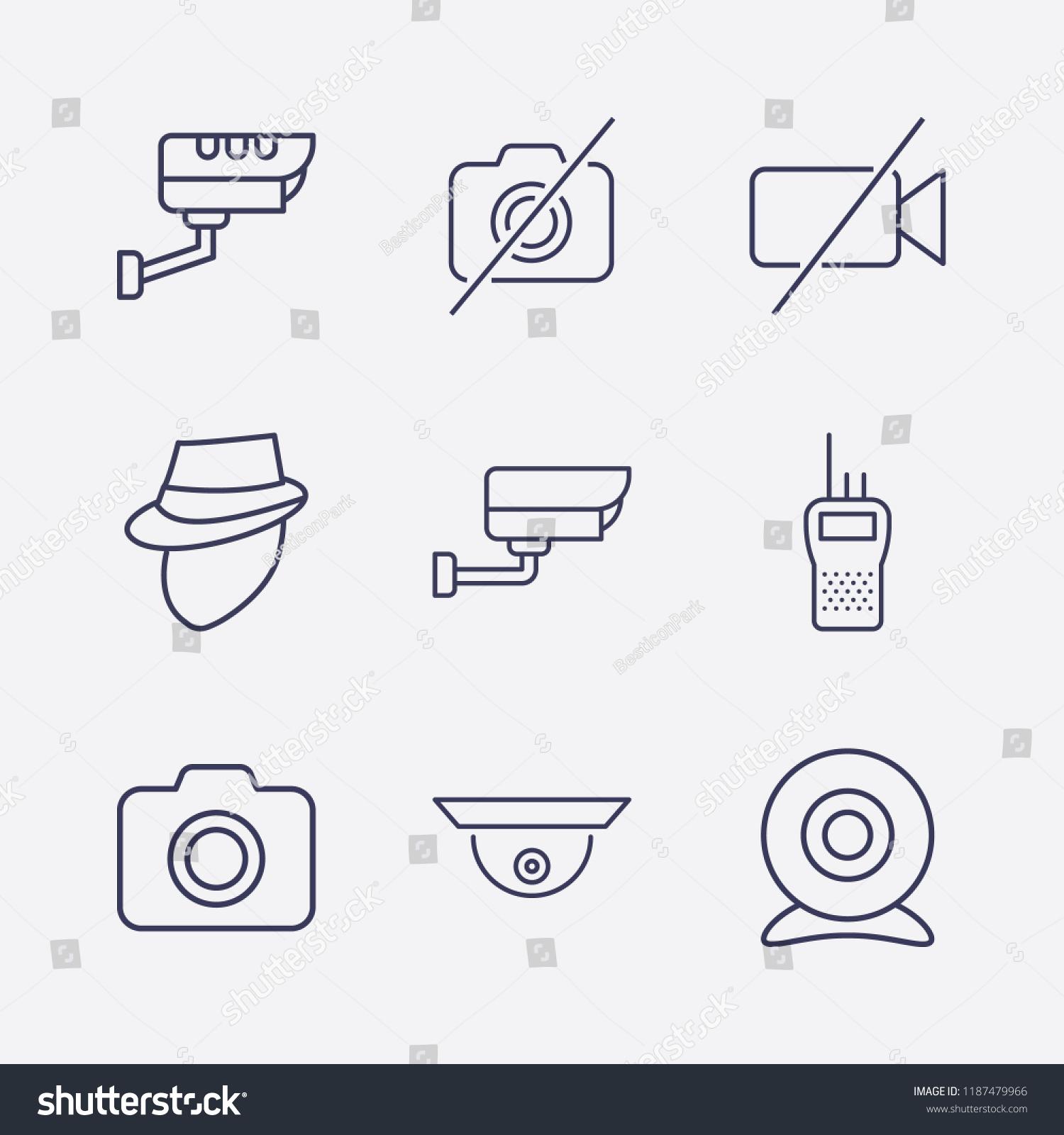 Outline 9 Spy Icon Set Web Stock Vector Royalty Free 1187479966 Circuit Diagram Of Walkie Talkie Camera Forbidden Video