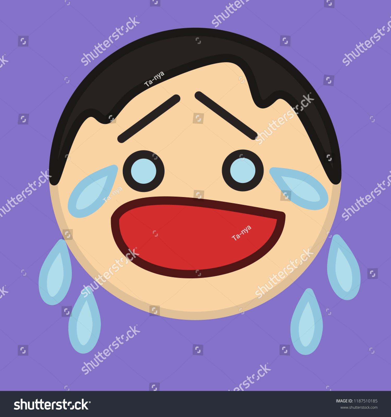 Emoticon Crying Character Tears Raised Eyebrows Stock Vector