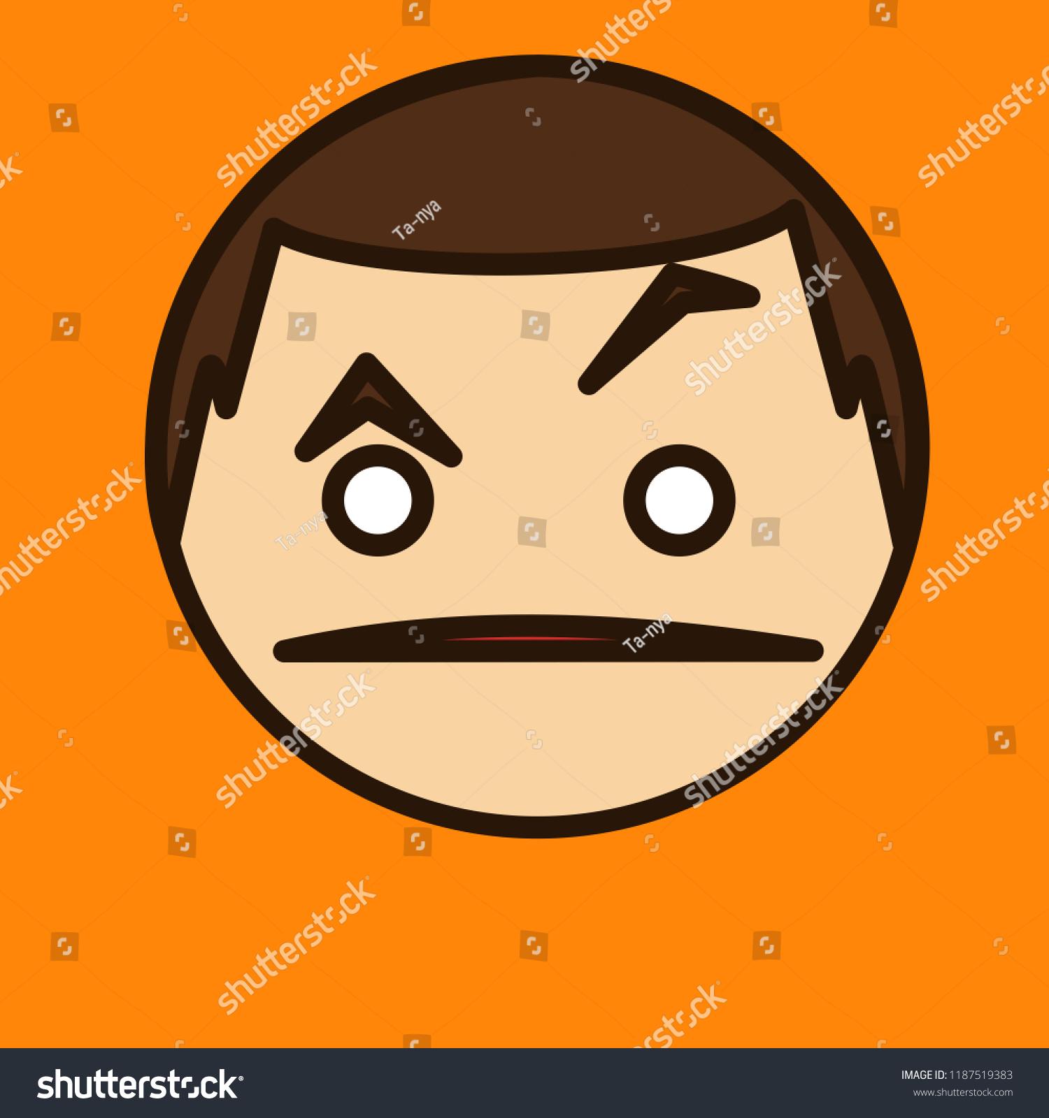 Emoji Confused Guy That Raising Eyebrow Stock Vector Royalty Free