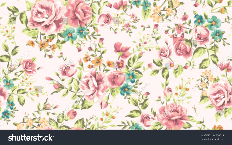 Classic Wallpaper Seamless Vintage Flower Pattern Stock Vector