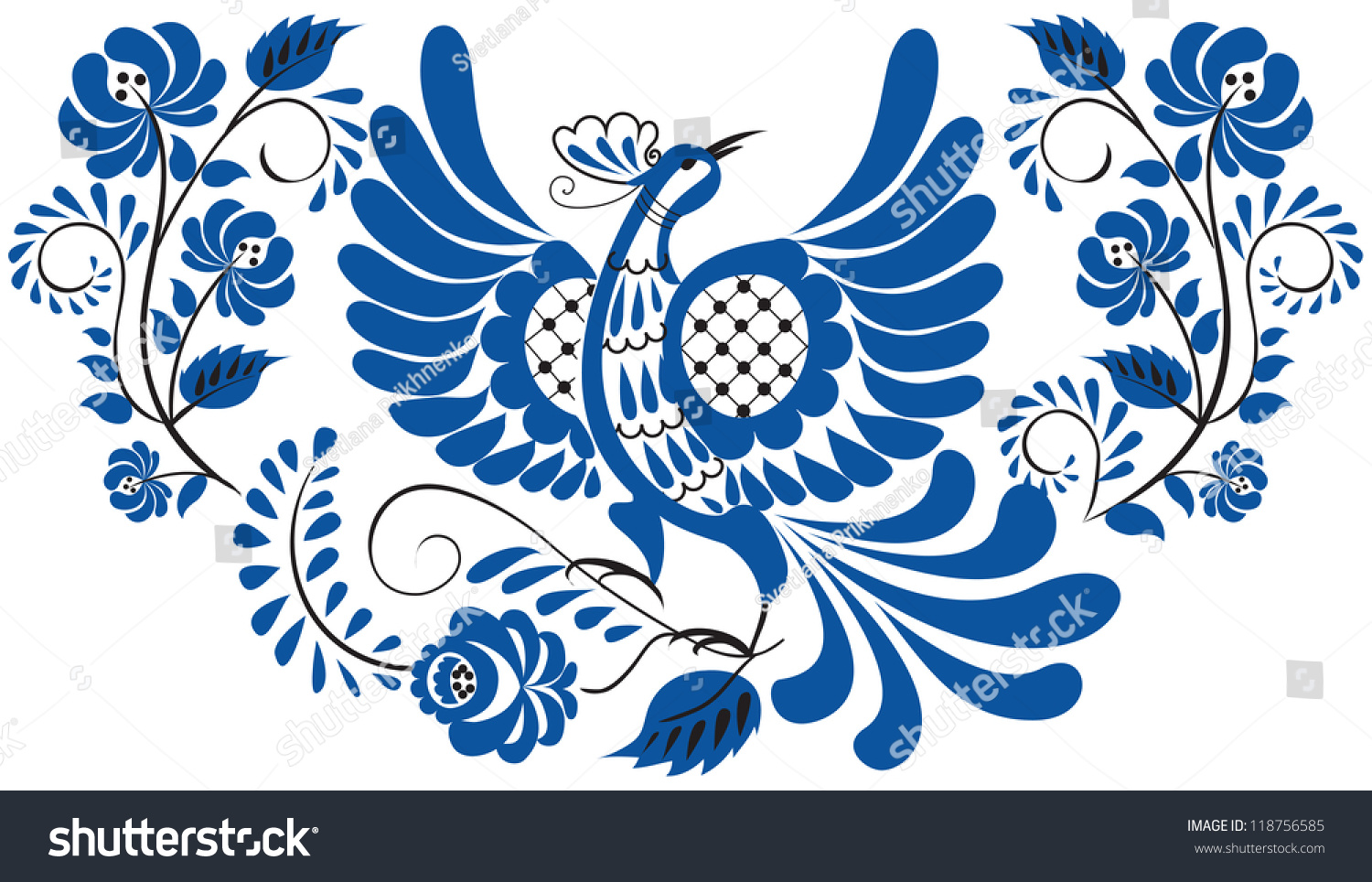 Artistic floral element abstract gzhel folk art blue flowers stock - Russian National Floral Pattern Gzhel Bird On The Branch With Leaves Swirls And