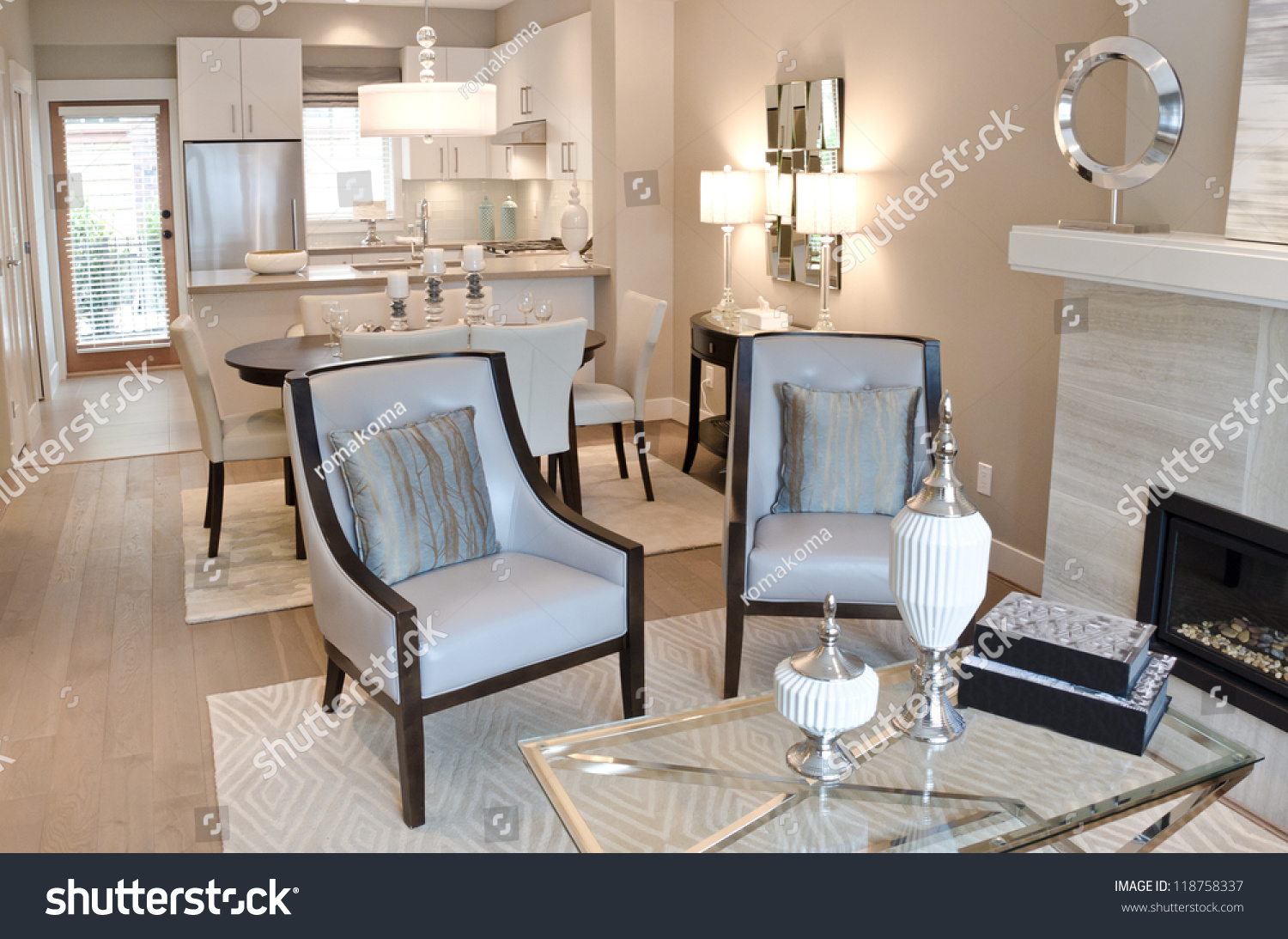 outlook luxury living suite dining room stock photo 118758337