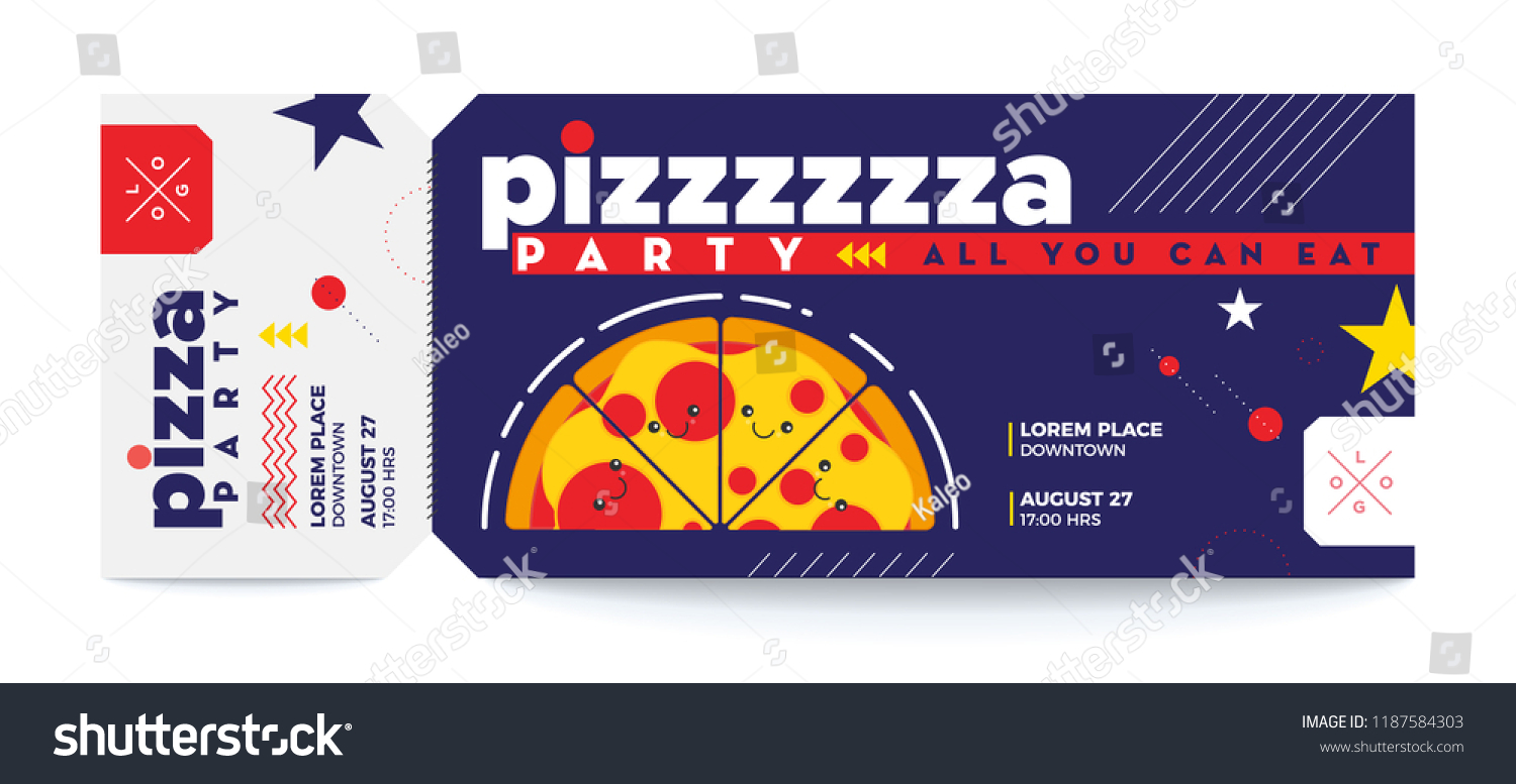 pizza party template food voucher concept food eventparty entrance vector tickets templates