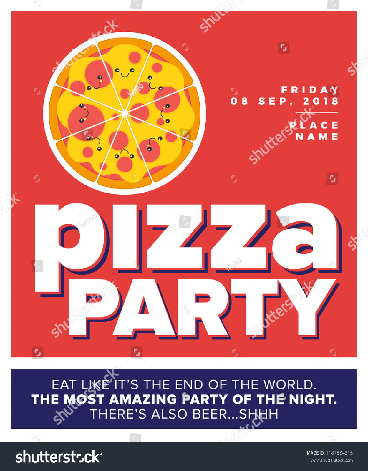 pizza party template design vector illustration of cute pizza character