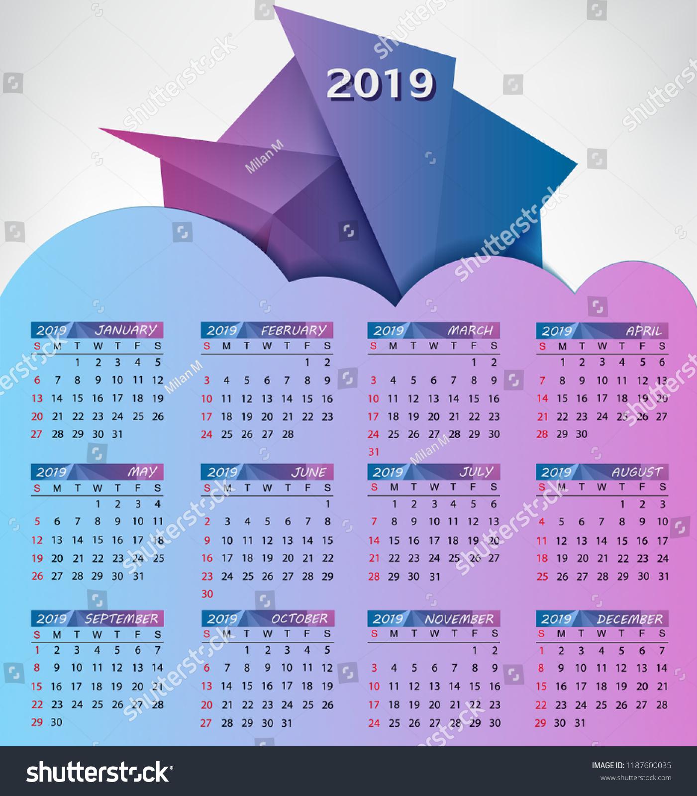 Calendar 2019 Year Vector Creative Calendar 2019 Stock Vector