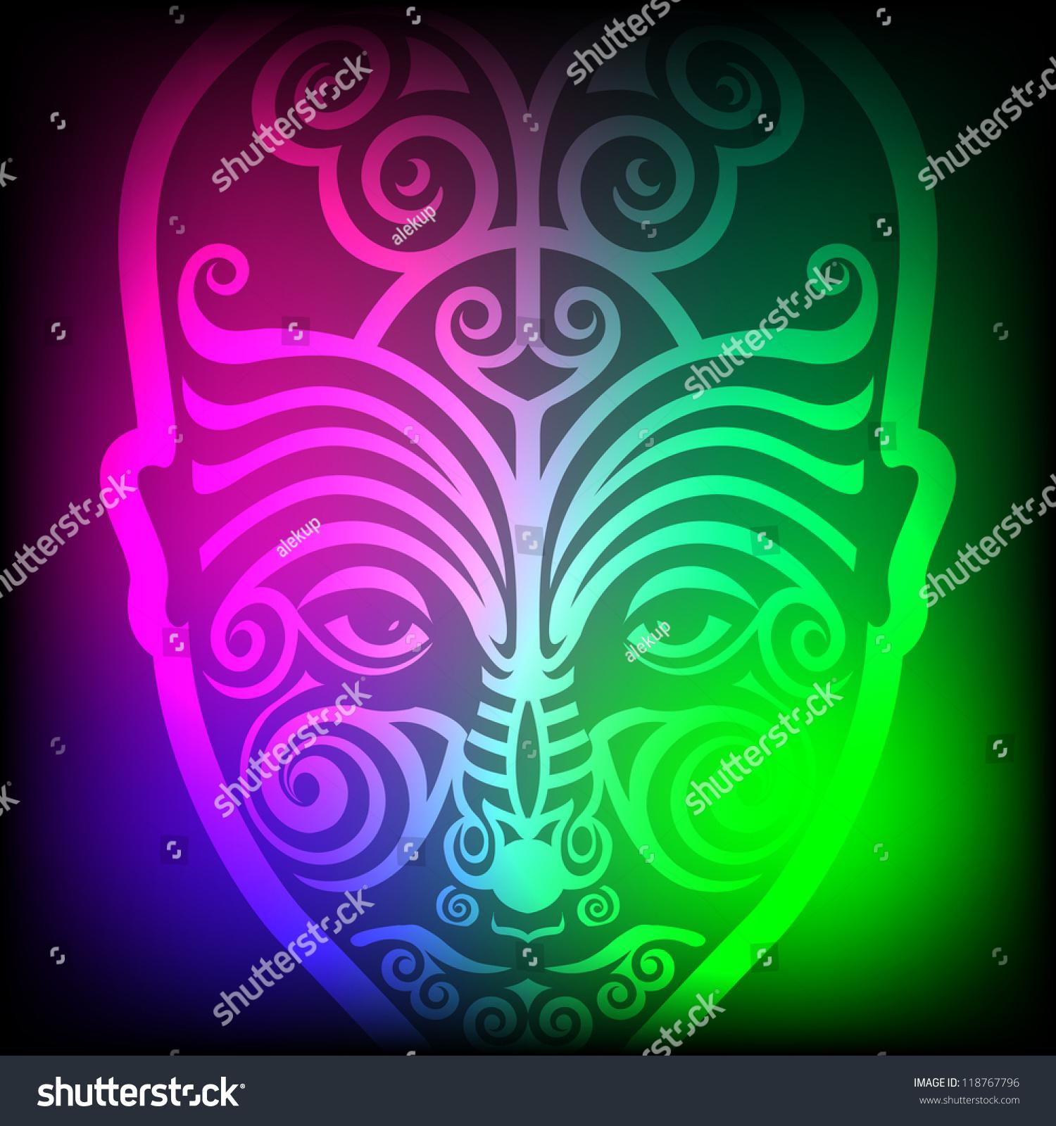 Maori Tattoo Designs Wallpaper: Maori Face Tattoo On Colorful Background Stock Vector
