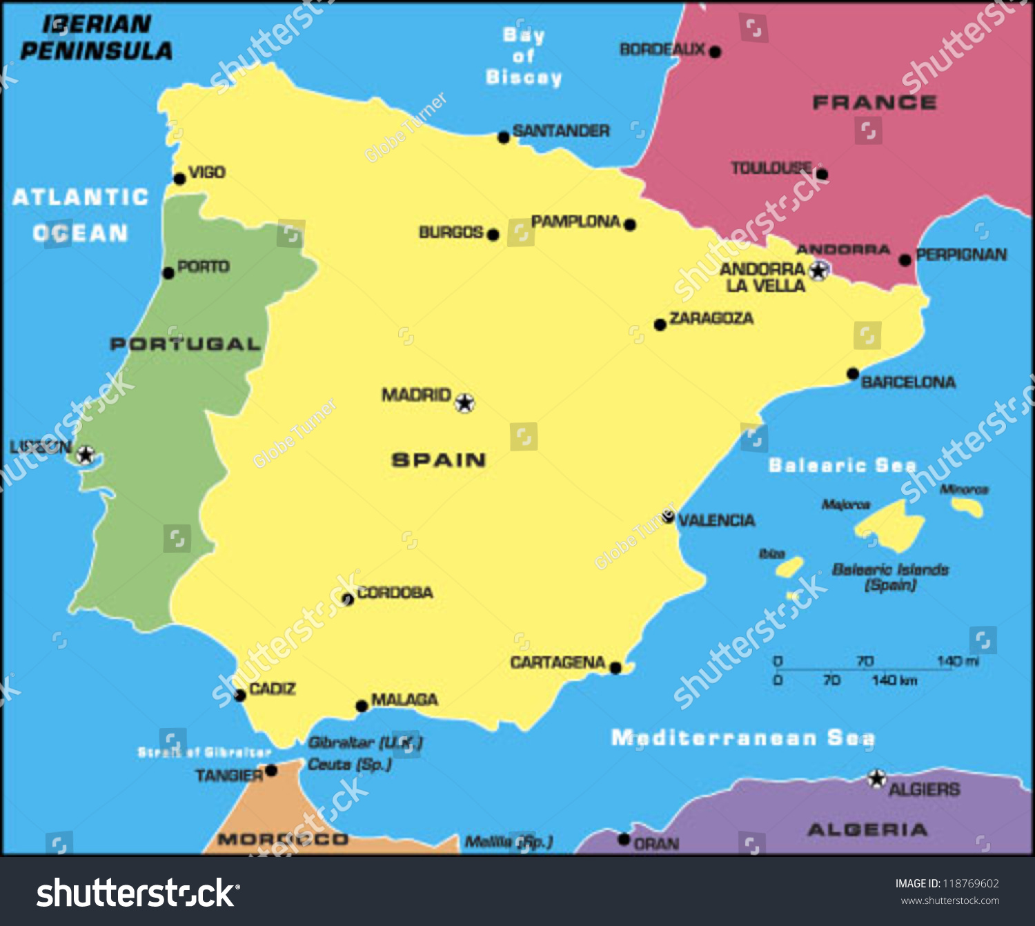 Iberian Peninsula Stock Vector Royalty Free 118769602 Shutterstock