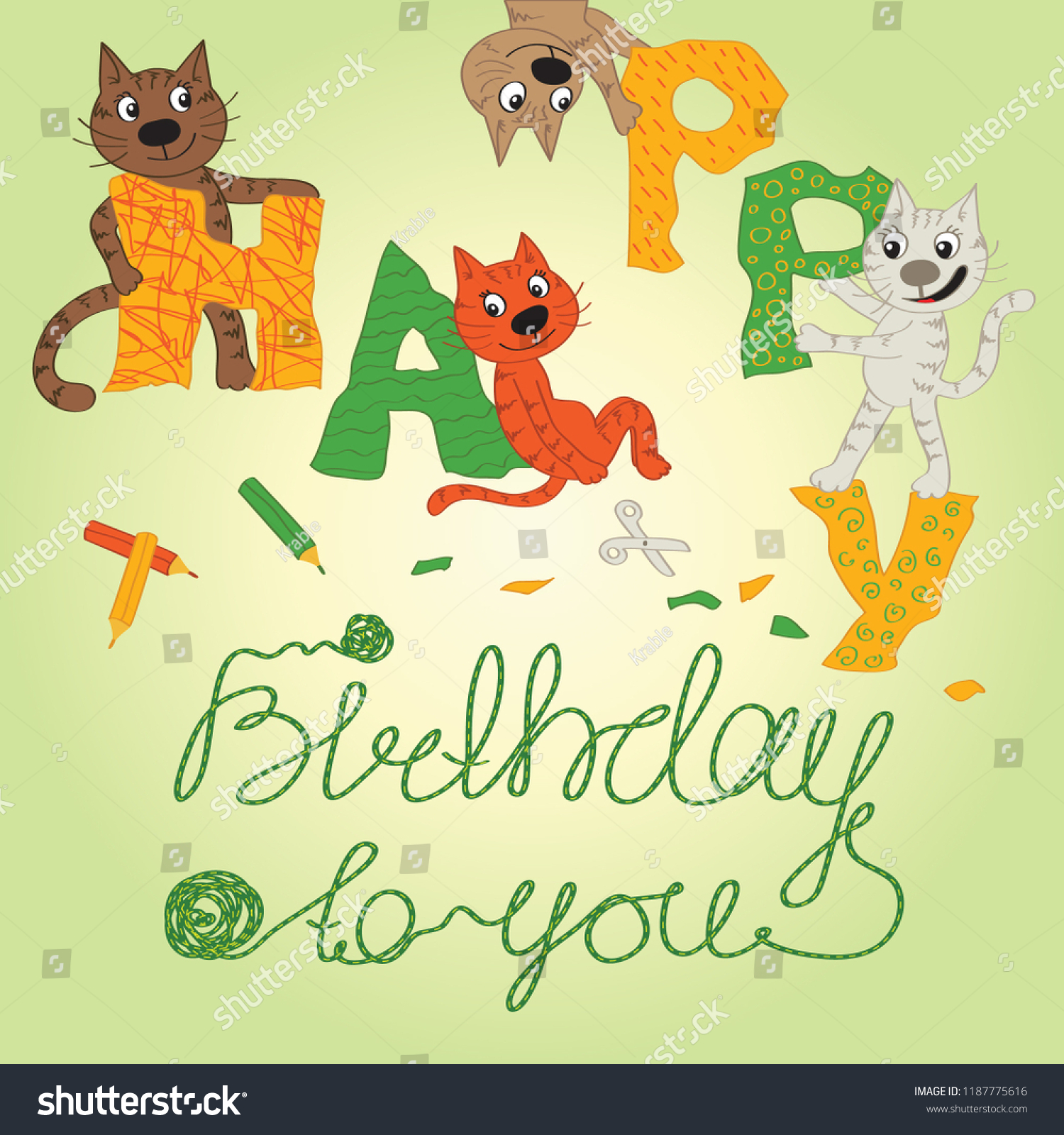 Greeting Card With Cats Happy Birthday Vector Illustration Congratulation