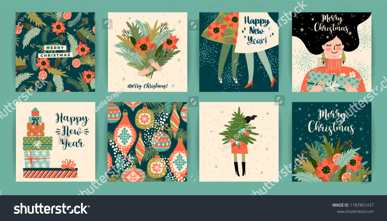 Christmas and Happy New Year templates. Trendy retro style. Vector design element. #1187801437