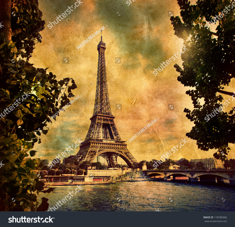 Eiffel Tower Paris France Vintage Retro Stock Photo