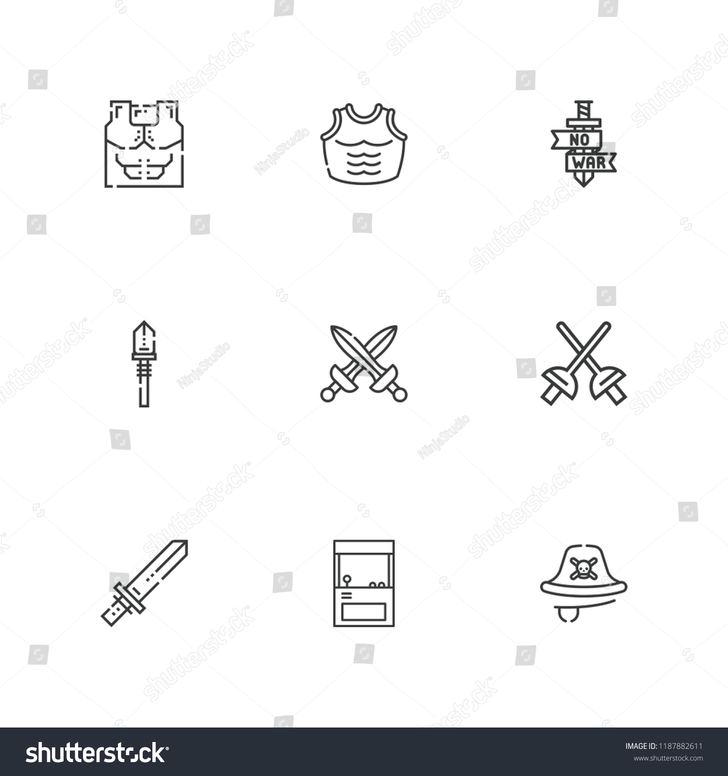Collection 9 Sword Outline Icons Include Stock Vector (Royalty Free