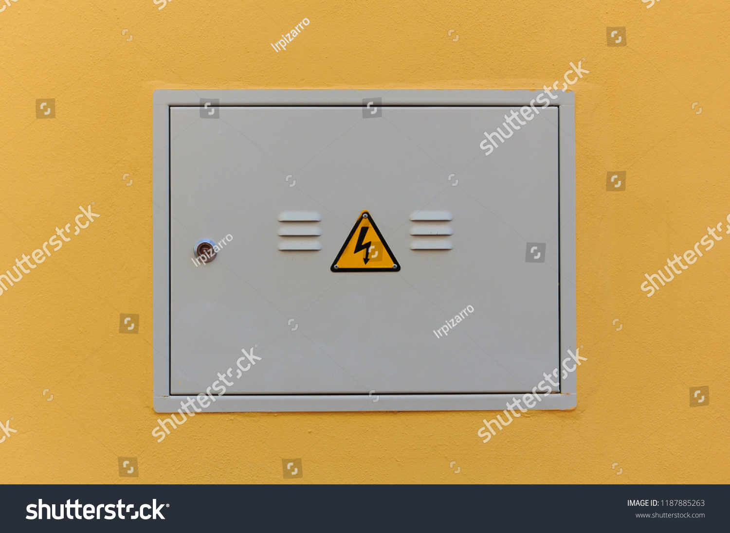 stock photo electrical panel closed fuse box on a wall outside of a house 1187885263 electrical panel closed fuse box on stock photo (edit now