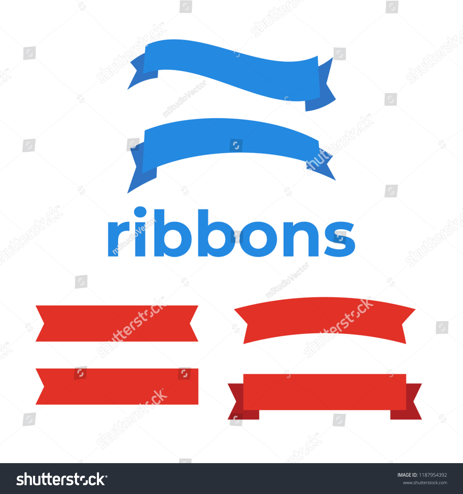 Flat Vector Ribbons Banners Flat Banner Stock Vector Royalty Free