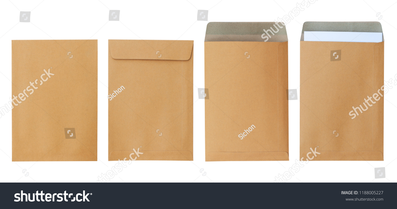 Brown envelope front and back isolated on white background. Letter top view. Object with clipping path #1188005227