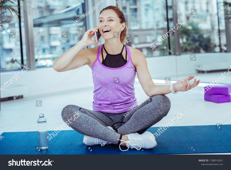 No Jokes Merry Mature Woman Talking Stock Photo (Edit Now
