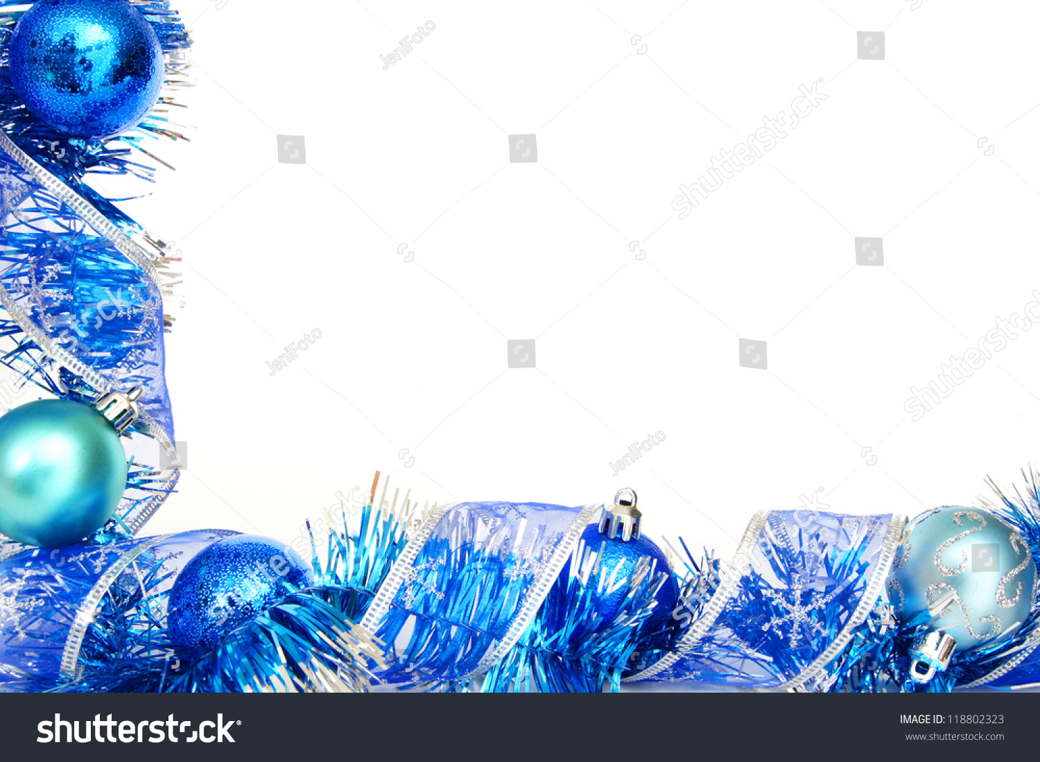 Blue Christmas Border With Baubles Garland And Shiny Ribbon Over White