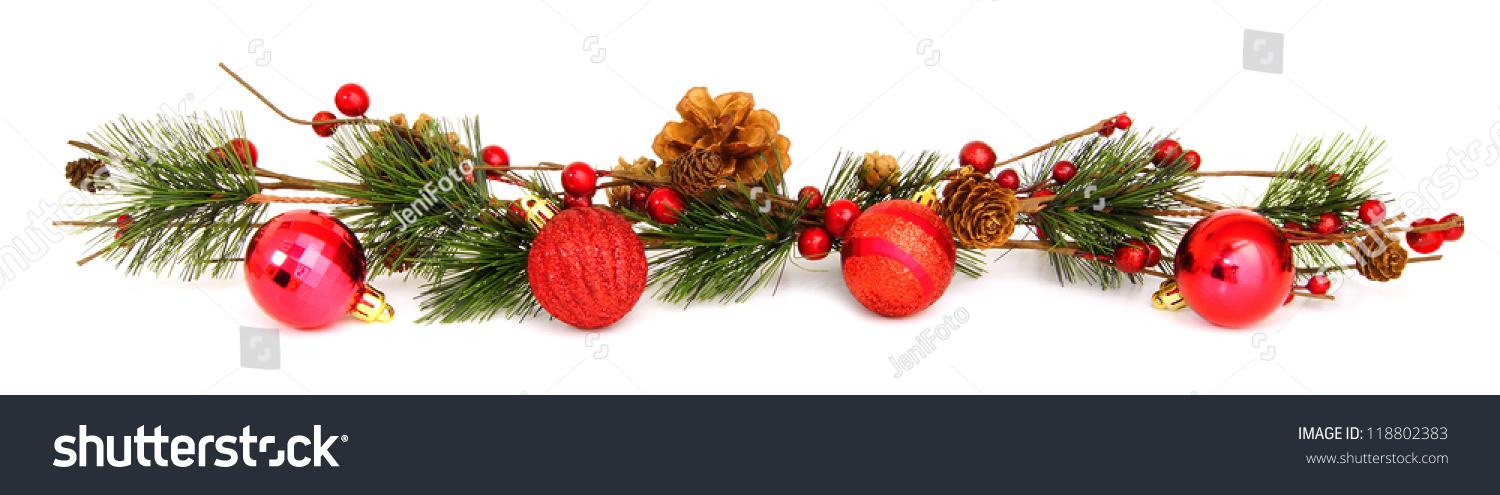 Long horizontal christmas border baubles tree stock photo