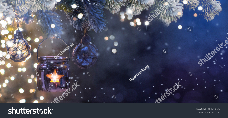 Christmas Lantern, Christmas and New Year holidays background, winter season.  #1188042139