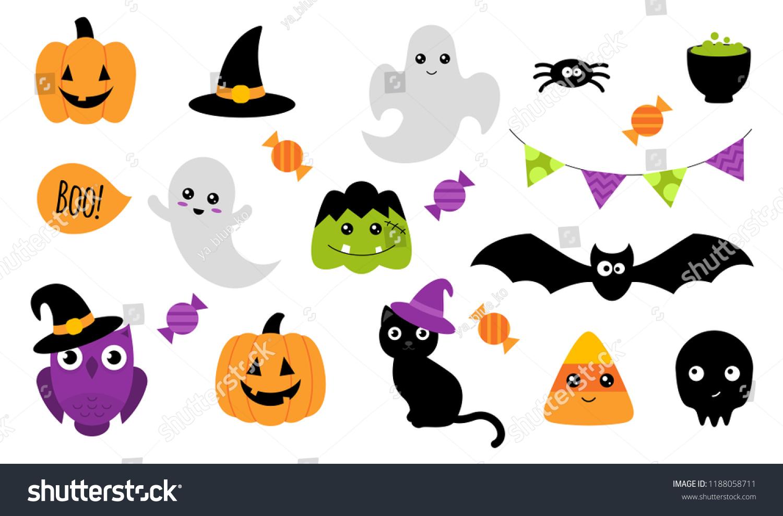 Halloween Stickers Ghost Pumpkin Owl Cat Stock Vector