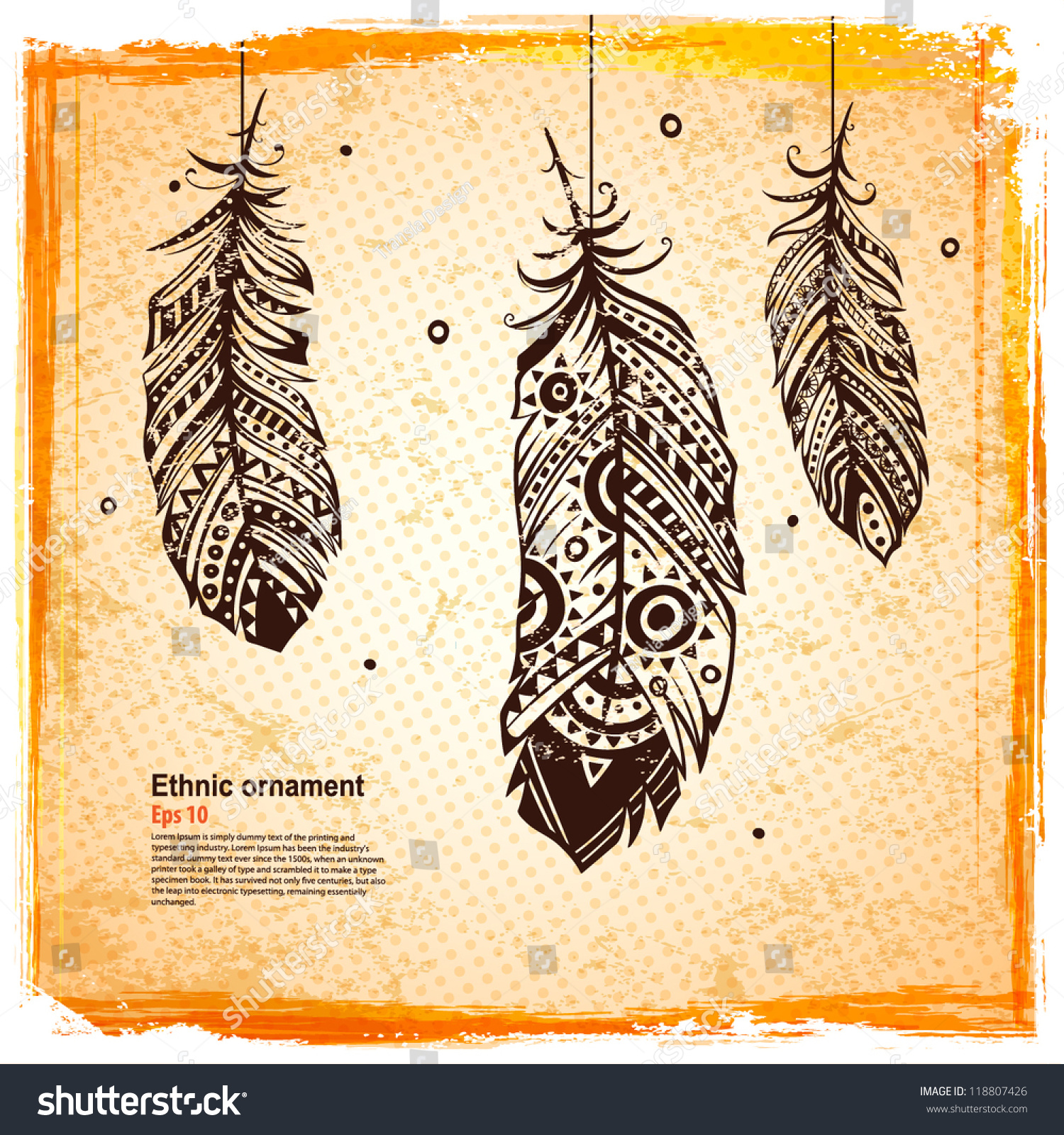 Vintage feather illustration your greeting card stock vector vintage feather illustration for your greeting card ot fabric print m4hsunfo