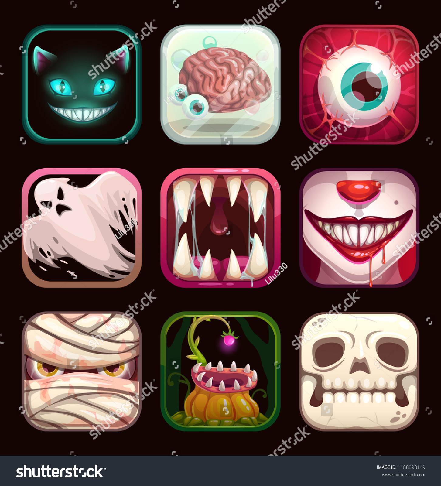 Scary App Icons On Black Background Stock Vector (Royalty Free ...