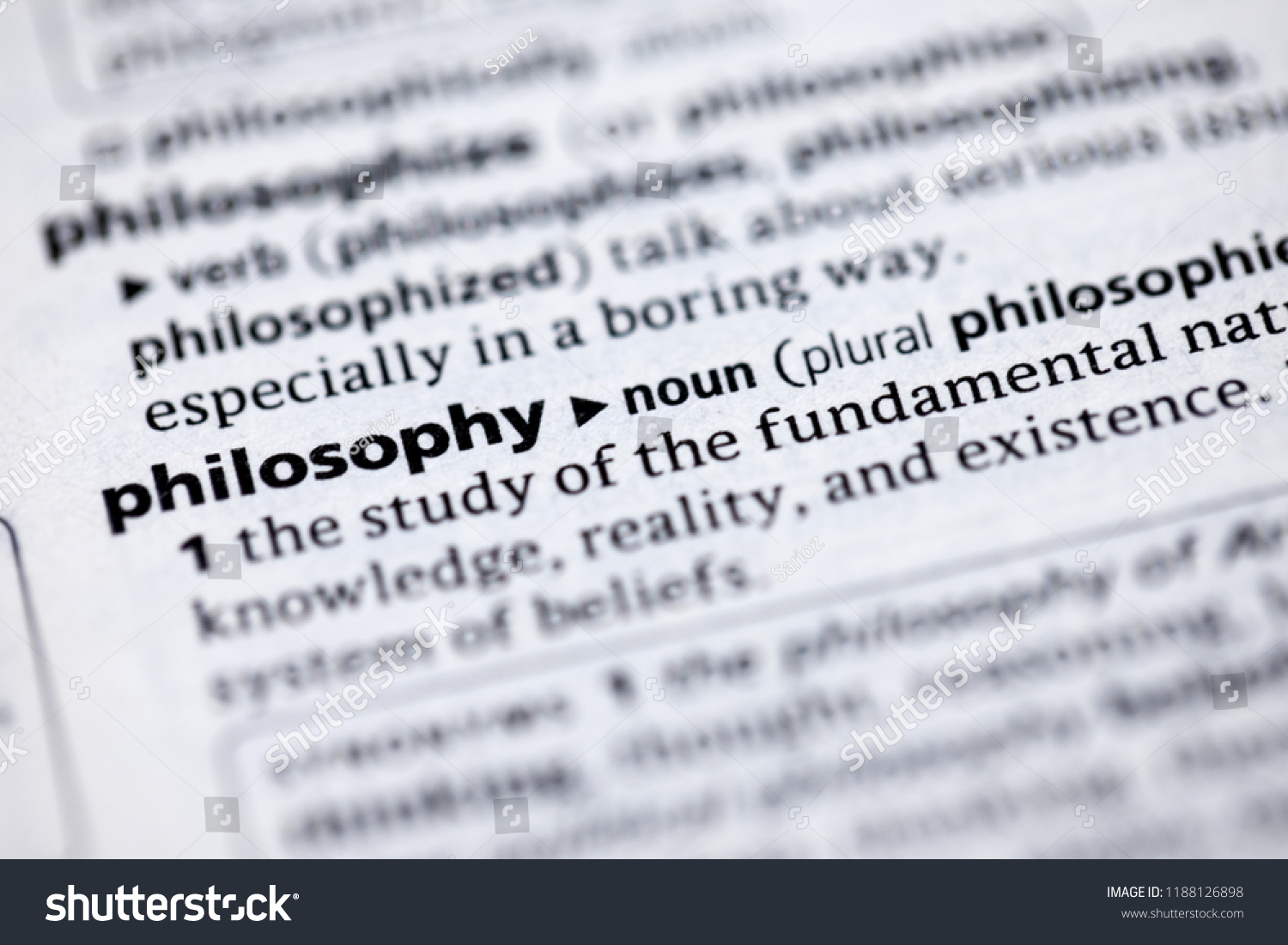 Close Dictionary Definition Philosophy Stock Photo (Edit Now
