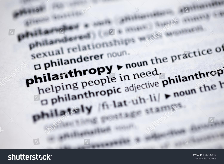 close dictionary definition philanthropy stock photo (edit now