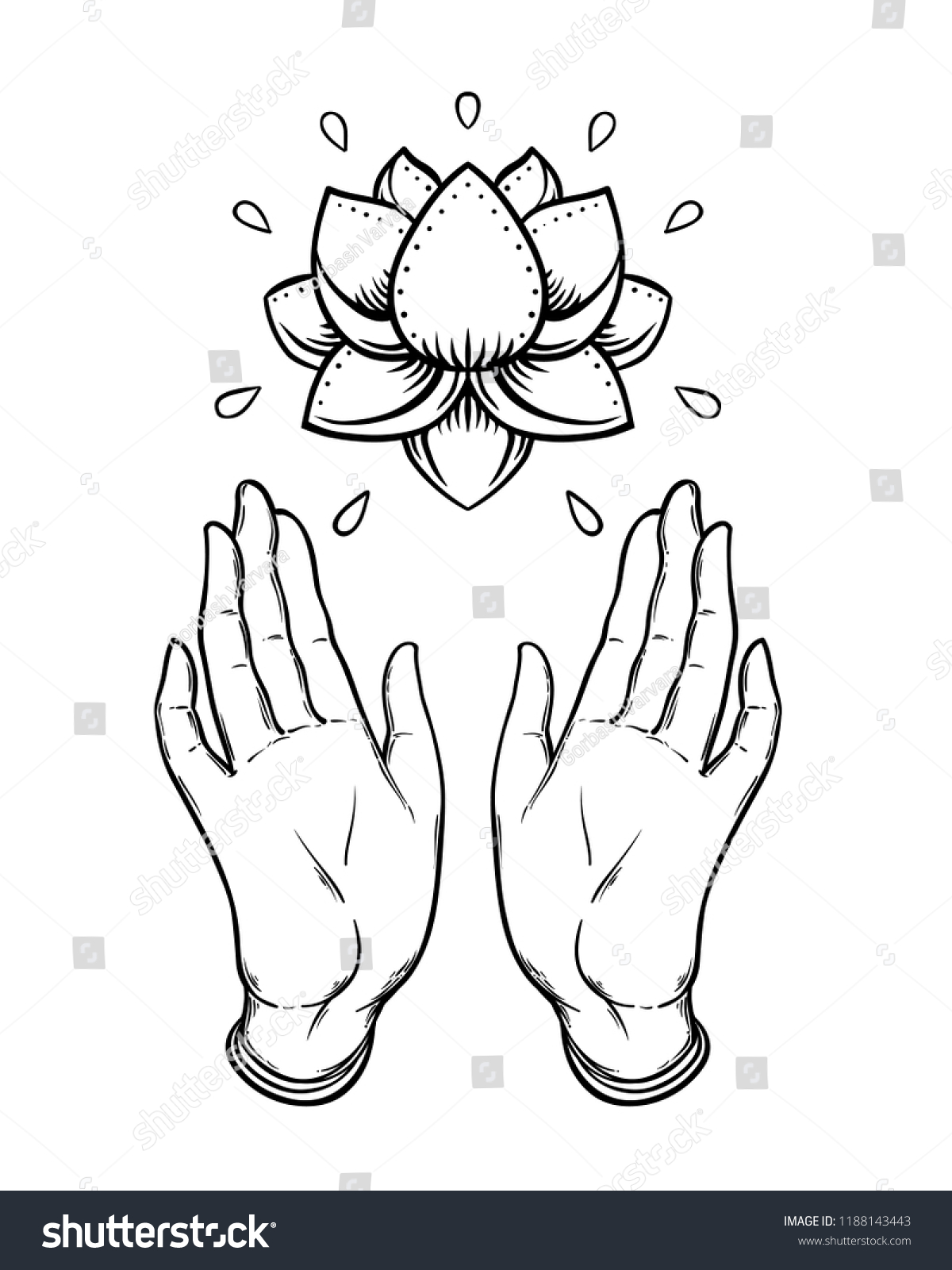 Lord buddhas open hands holding lotus stock vector royalty free lord buddhas open hands holding lotus flower isolated vector illustration of mudra hindu motifs izmirmasajfo
