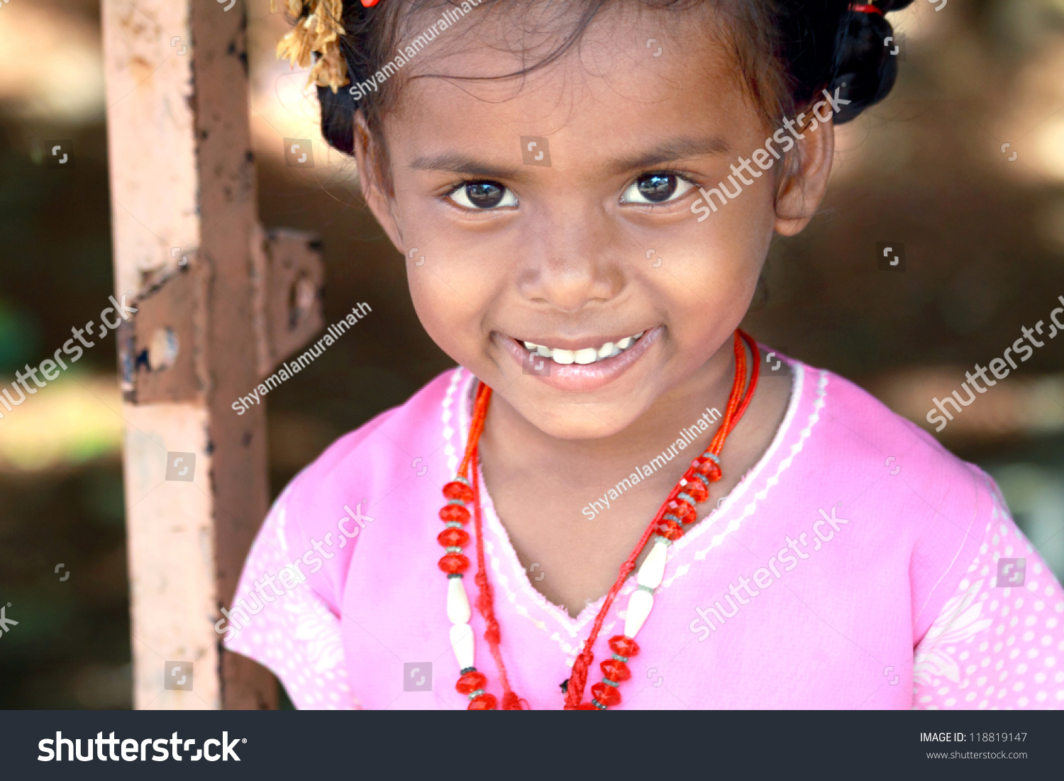 smiling indian village little girl stock photo (royalty free