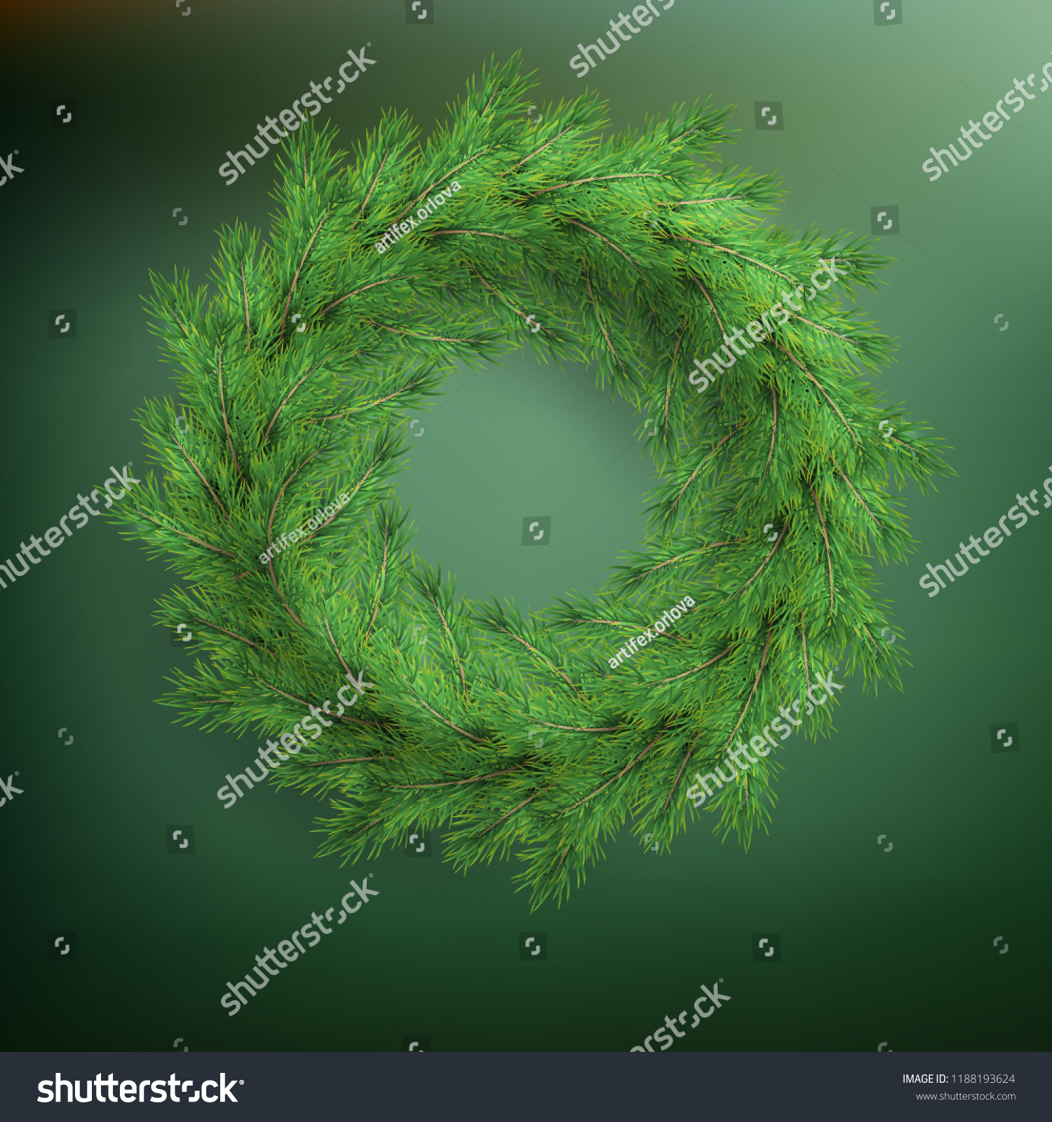 new year and christmas wreath greeting template frame traditional winter decoration with evergreen green branches