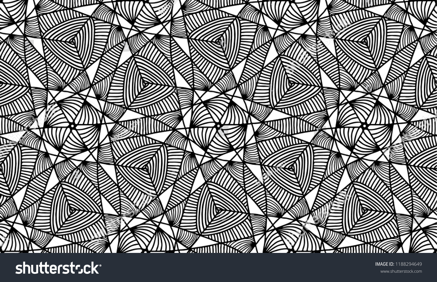 Seamless Outline Abstract Pattern Kaleidoscope Optical Stock Vector