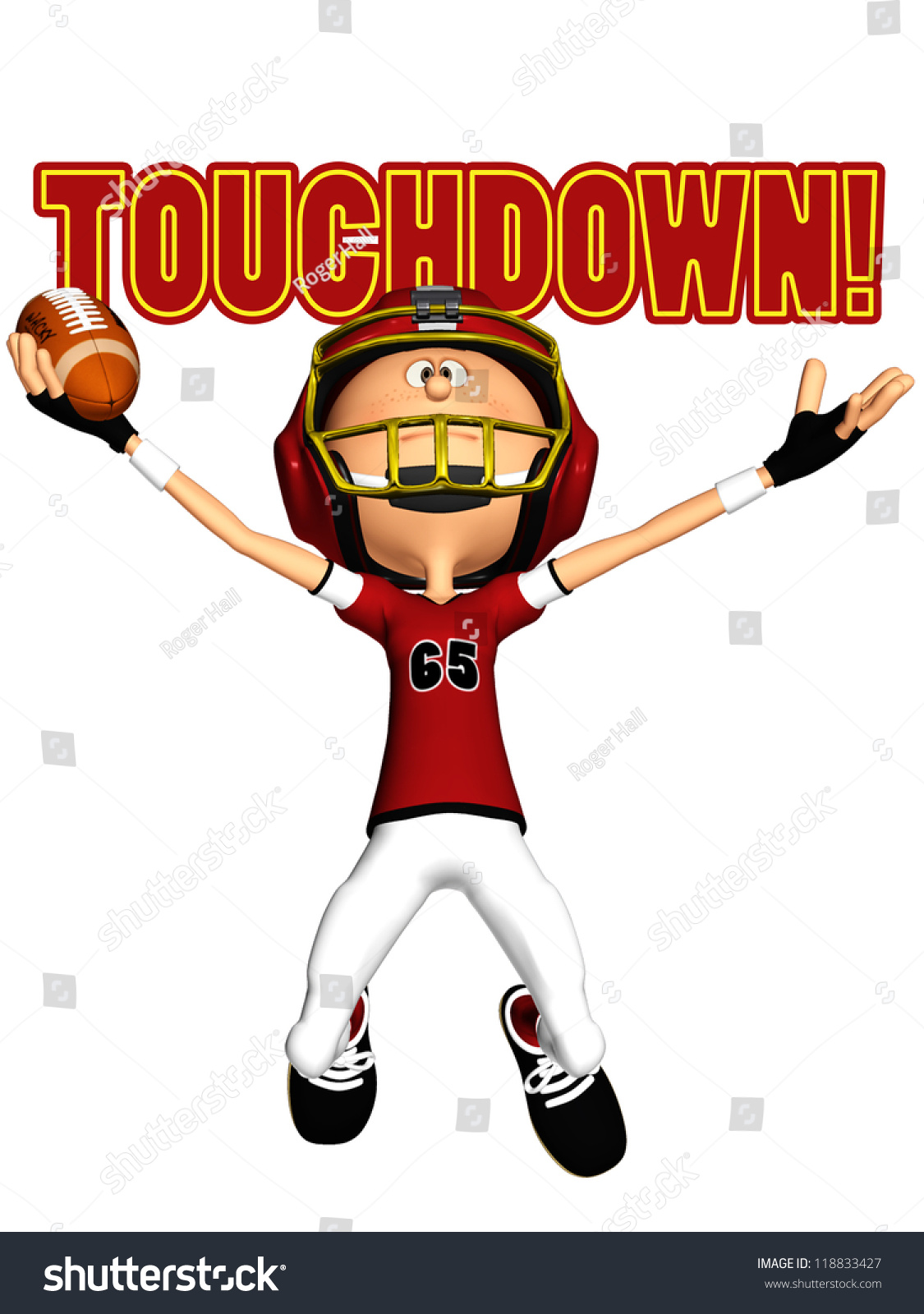 touchdown american footballer cartoon stock photo Football Player Cookie cartoon football player clipart black and white