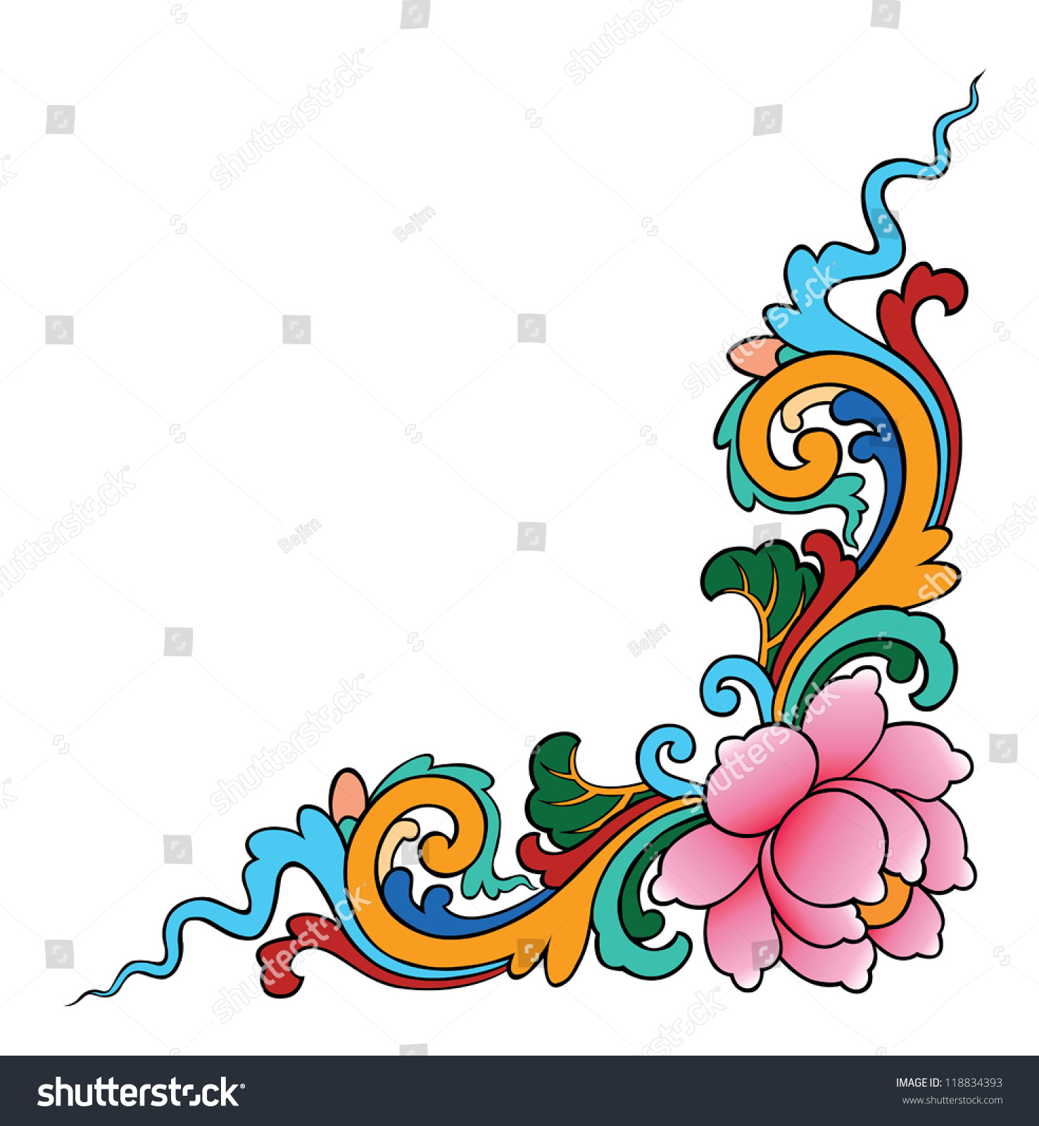 Painter Decorator Sign Stock Vector: Lotus Painting On White Background Decorative Stock Vector