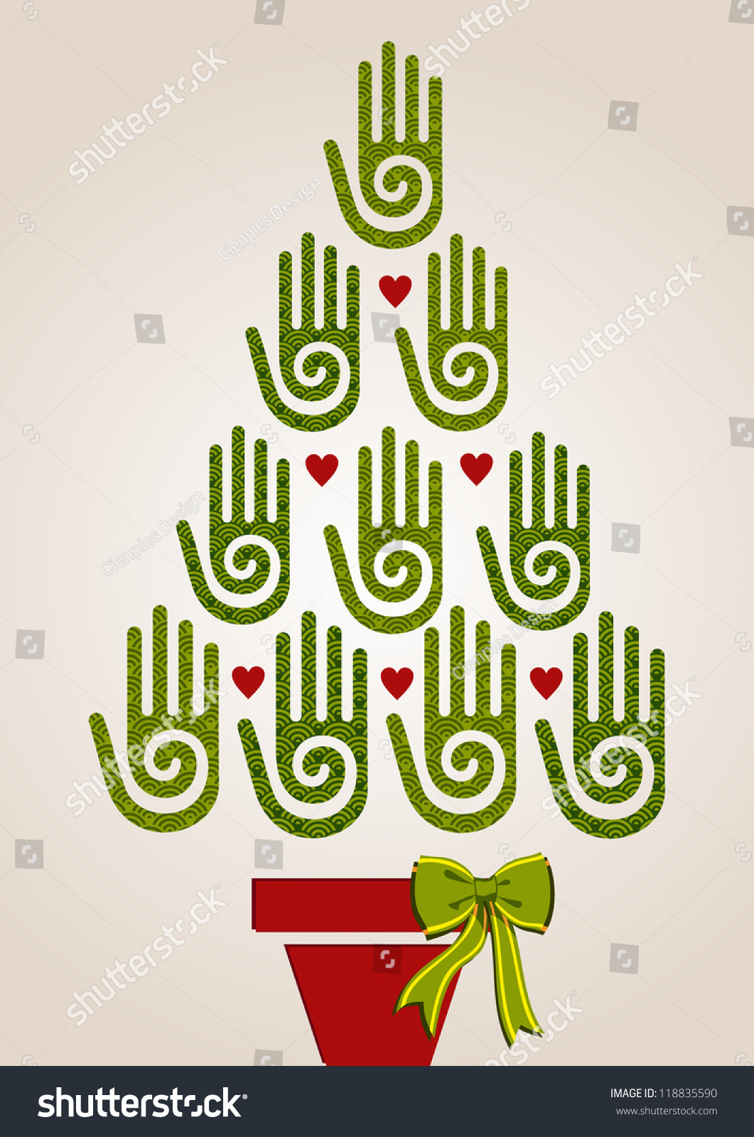 Eco friendly christmas tree hands greeting stock vector 118835590 eco friendly christmas tree hands greeting card vector illustration layered for easy manipulation and custom kristyandbryce Images