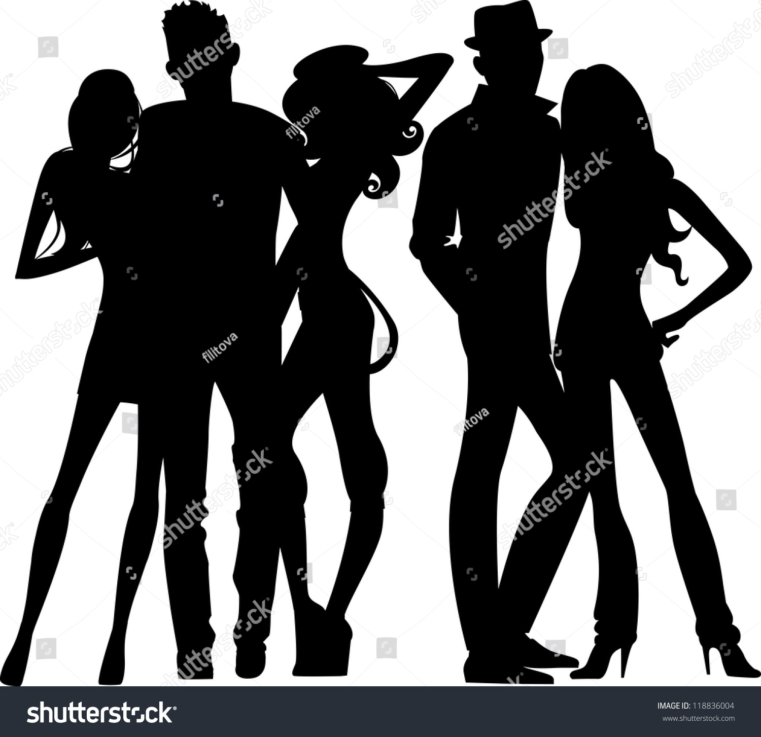 Silhouette Group Young People Stock Vector 118836004 ...