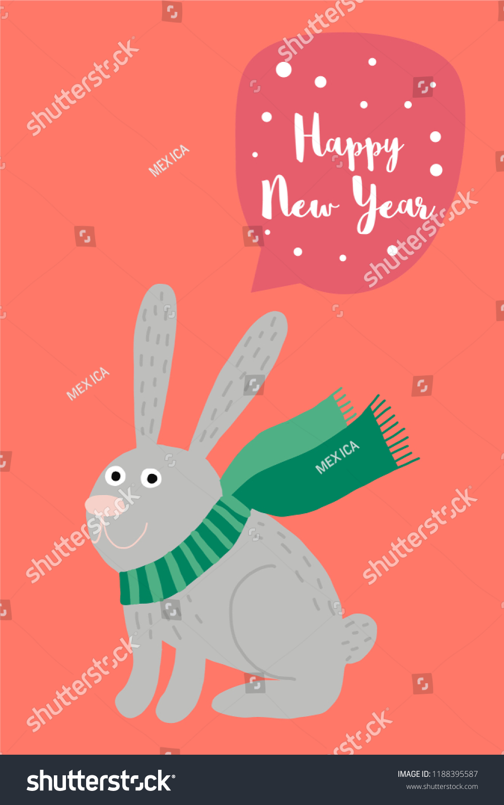 cute little bunny and happy new year wishes poster card christmas decoration for