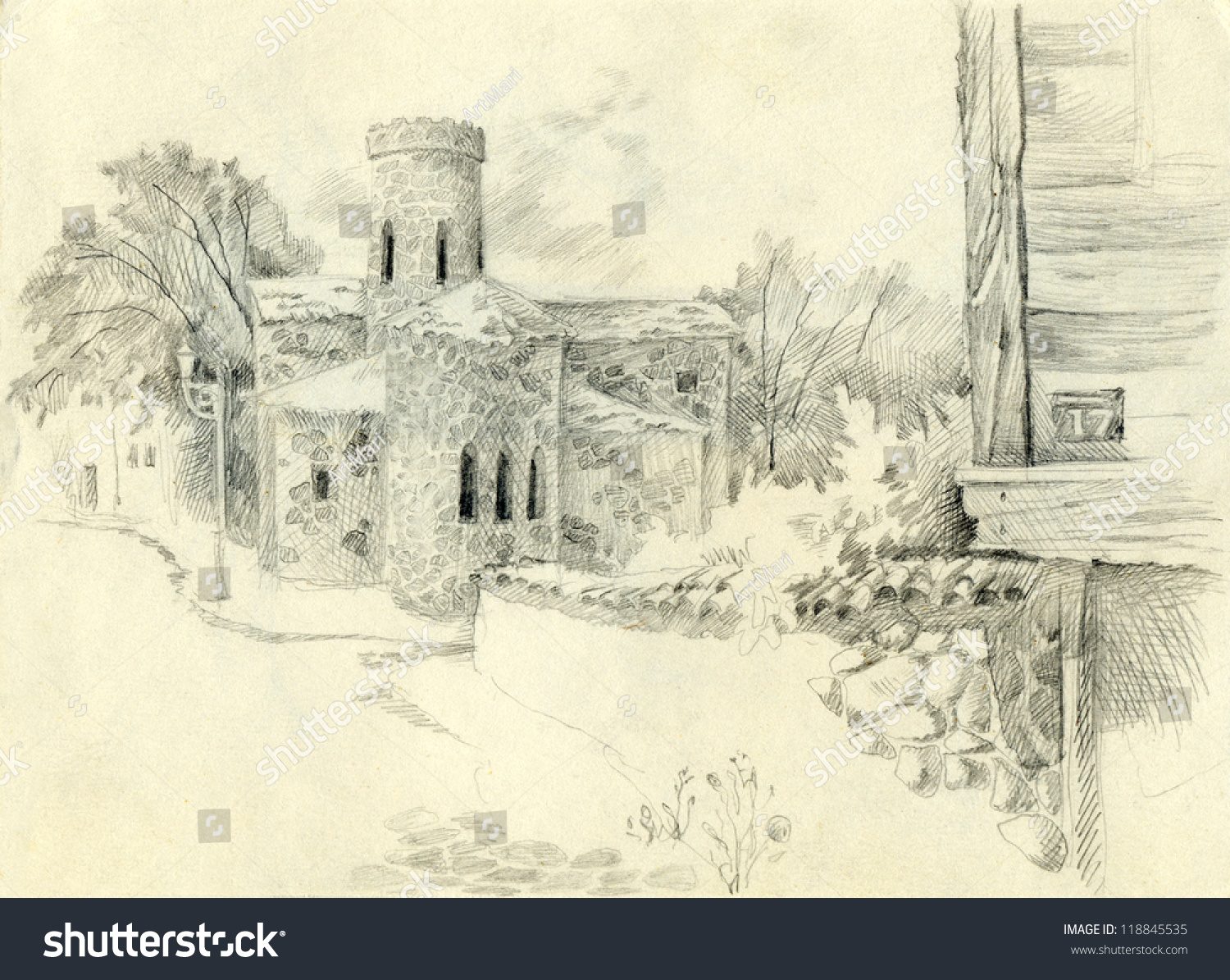 Pencil drawing a sketch of the urban landscape with the old stone church at the