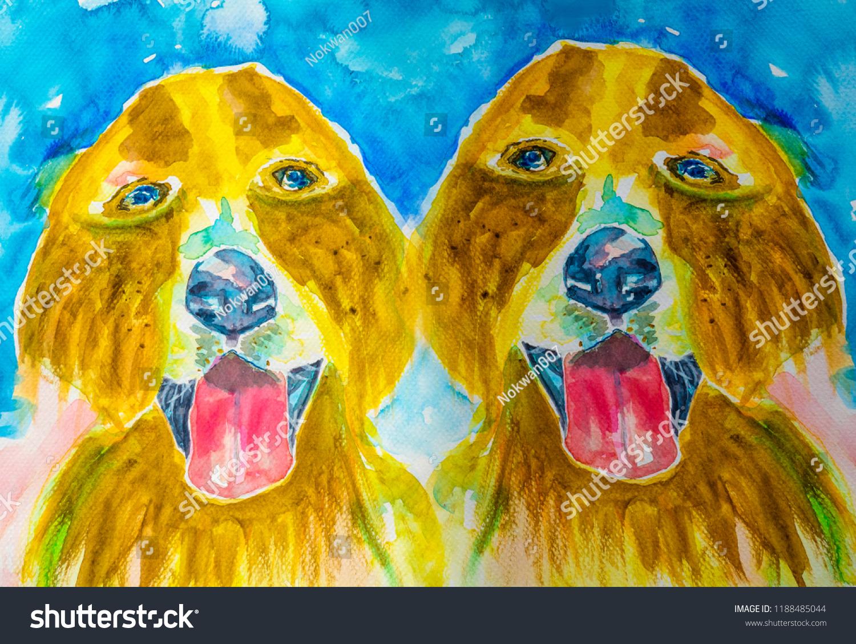 Twin Brown Friendly Golden Retriever Portrait Stock Illustration