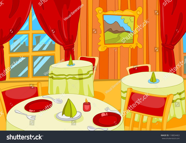 Restaurant Hall Cartoon Background Vector Illustration