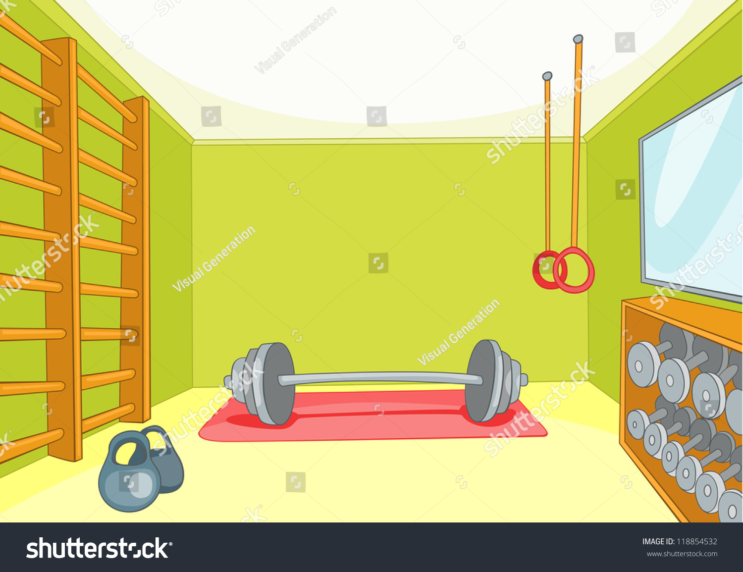 Gym room with trainers vector cartoon background eps