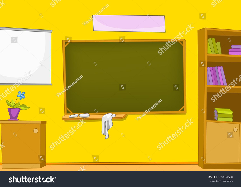 Empty cartoon classroom background - Classroom With Blackboard And School Staff Vector Cartoon Background