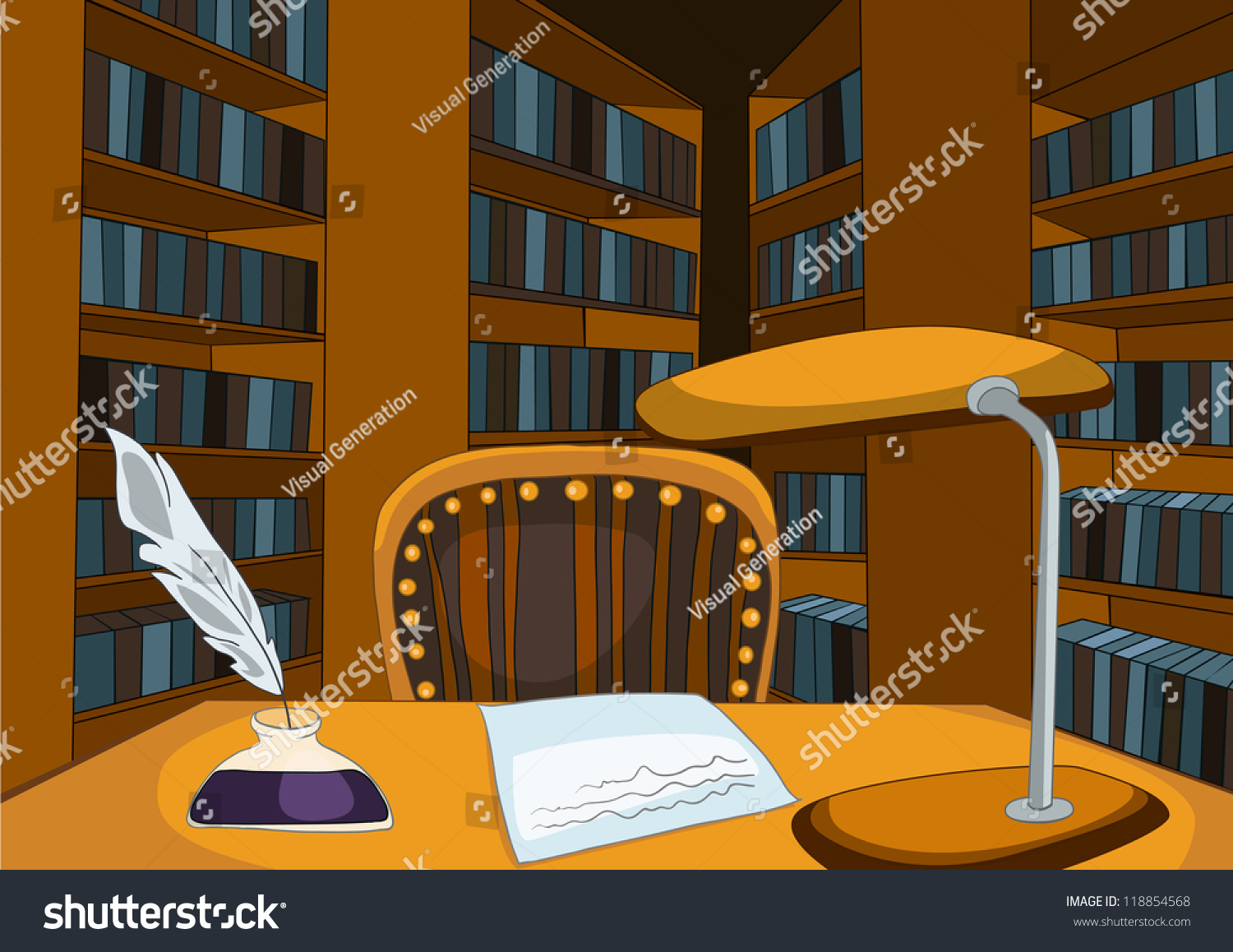 Empty cartoon classroom background - Library Room With Table And Bookshelfs Vector Cartoon Background