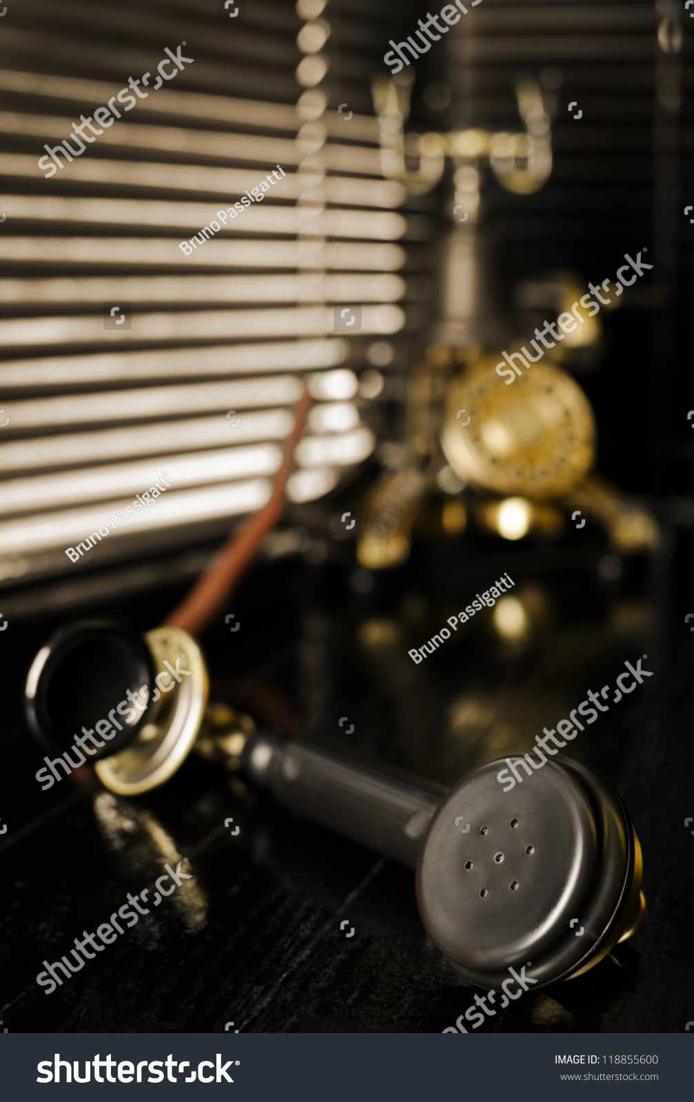 vintage telephone film noir scene with retro phone and blinds stock photo 118855600 shutterstock. Black Bedroom Furniture Sets. Home Design Ideas