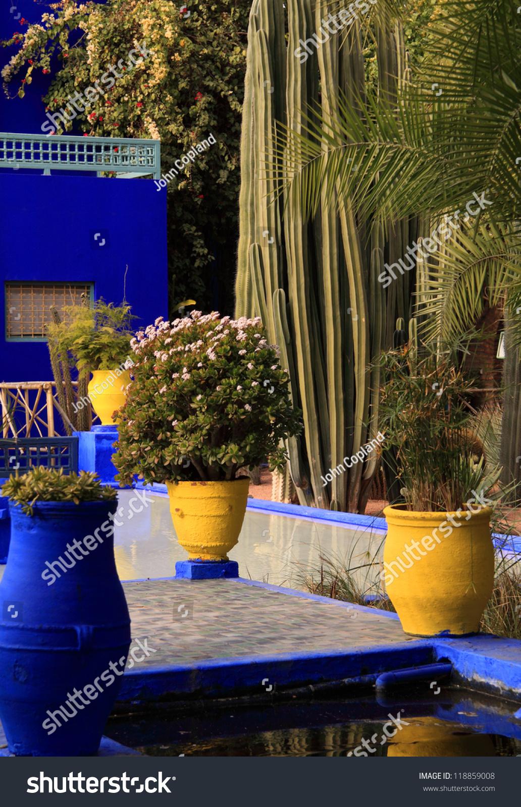 Morocco Marrakesh Majorelle Gardens Detail Colourful Stock Photo ...