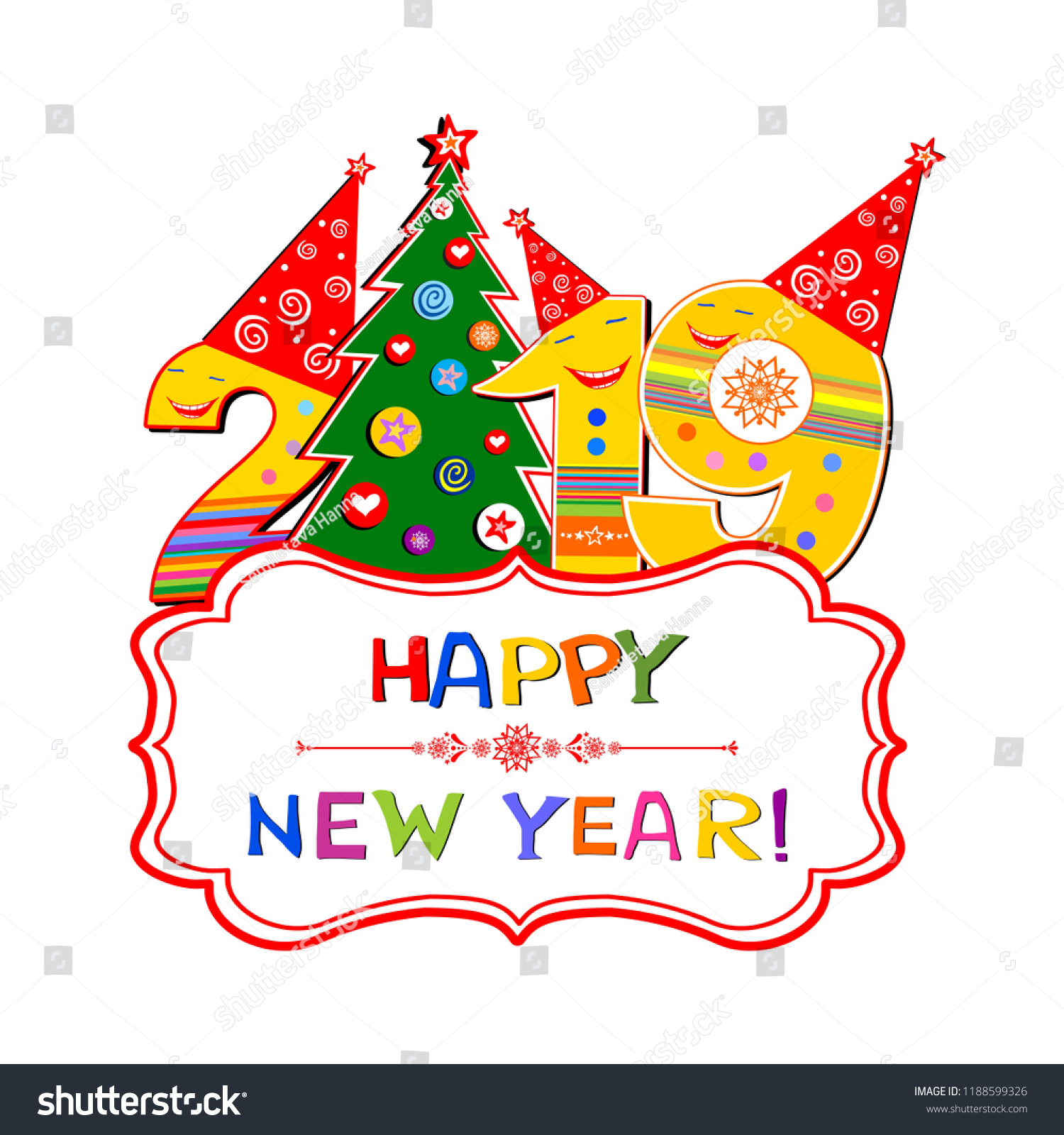2019 happy new year greeting card celebration white background with christmas tree snowflake